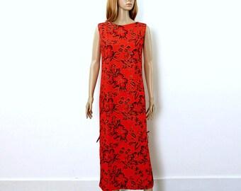 Vintage 1970s Hawaiian Look Maxi Dress Red Black Gold Floral Long Shift Dress / Small