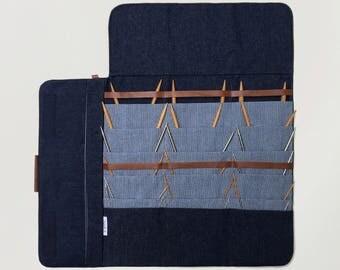 Circular Knitting needle Case, Fixed circular needle organizer, Denim case