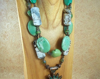 Cowgirl Necklace Set - Chunky Green Howlite Turquoise and Fire Crackle Agate - Spur Rowel Pendant