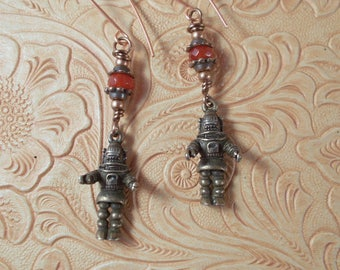 Robby Robot Earrings - The Forbidden Planet - Red Jade Dangles