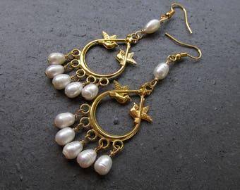 Freshwater pearls, chandelier earrings, 3 inches long, wedding jewelry, summer fall
