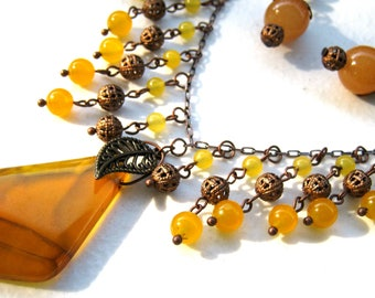 Mixed yellow stones, fringe bib necklace, short drop earrings, artisan jewelry set