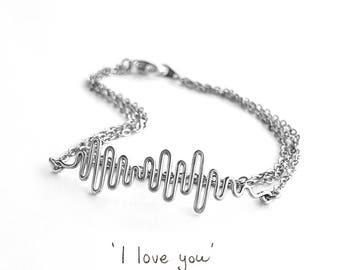 Custom Sound Wave Bracelet for Her, Hidden Message Bracelet, Custom Soundwave Bracelet for Her, Music Gift for Her, Voice Wave Bracelet