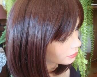 womens wig dark brown wig chemotherapy alopecia short wig cap wig hat