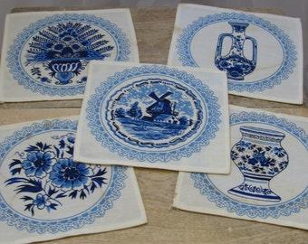 Blue and White Vintage Napkin Coasters, Set of 5