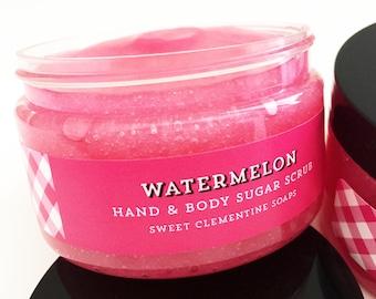 Watermelon Sugar Scrub, Body Scrub, Body Polish, Summer Hand and Foot Sugar Scrub, Melon, Mango, Papaya