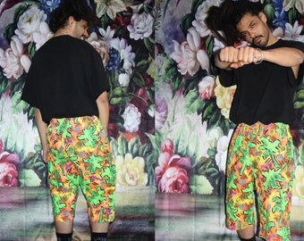 Palm Tree Abstract Graphic 90s Neon Tribal Rainbow Fresh Prince Retro Hip Hop Long Shorts - 1990s Shorts - 90s Clothing - MV0604
