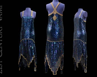 Art Deco Flapper Dress. Iridescent Sequins with Gold details. Studio 54. 1970s. 70s. 1920s style. Gatsby. Jazz Age. Prom. Wedding.