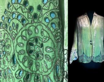 Original 1930s Silk Velvet Jacket. Jewelled and Metal Embroidered Cutwork Design. Art Deco. Jazz Age. 30s 40s.