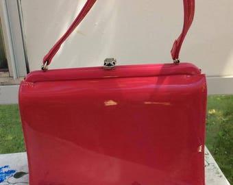Vintage 1950s 1960s Handbag Purse Hot Lipstick Pink Patent/Vinyl Socialites By Theodur Fabric Lined