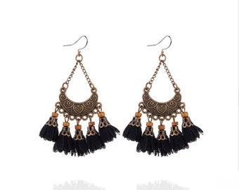 Black flower surgical steel earrings -  tassel earrings, bronze long fringe earrings, stainless steel earwires nickel free jewelry