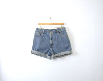 Vintage 80's Levi's high waisted denim shorts, blue jean shorts, women's size 14 / 12
