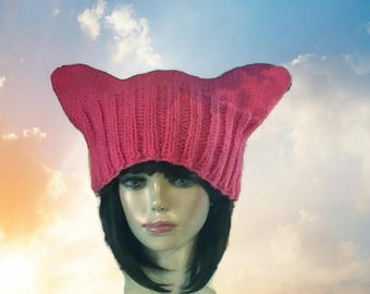 Pink Pussyhat, Pussyhat Project, Knit Pink Cat Hat, Pussy Cat Hat Project, Pink Cat Hat, Pink Pussycat Hat
