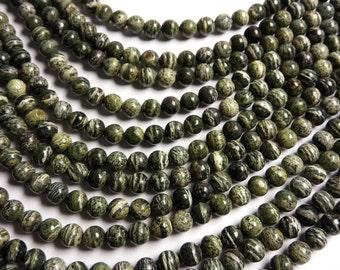 Green Zebra jasper - 8mm round -  full strand - 49 beads -  A quality - RFG1357