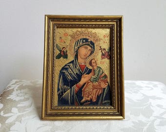 Vintage Madonna Child Jesus Our Lady of Perpetual Help, Byzantine Gold Frame Art Print Picture, Blessed Mother Virgin Mary, Religious Icon