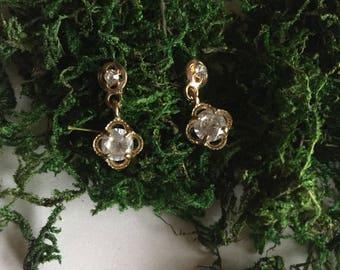 Precious Little Diamonds | rhinestone and gold stud dangle // drop cocktail event formal earrings minimal vintage 90s preppy