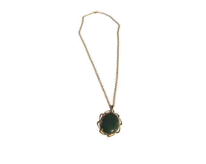 Jade Pendant | cabochon stone gold decorative chain vintage 70s jewelry necklace charm