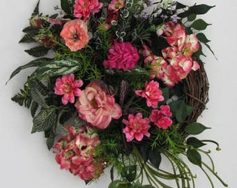Summer Wreath, Pretty in Pink Summer Wreath, Wreaths for Front Door, Door Wreath, Outdoor Door Wreath, Front Door Wreath, Seasonal Decor