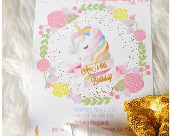 Unicorn Birthday - Printable Invitation