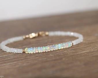 Ethiopian Opal and Moonstone Bracelet, Welo Opal, October Birthstone, Moonstone Jewelry, Gemstone Jewelry, Gold or Silver