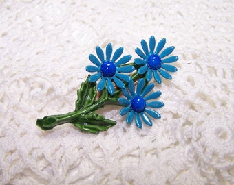 Vintage Enamel Flower Brooch Jewelry 3 Blue Daisy with Dark Blue Center Large VTG Pin 50s or 60s style