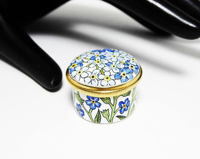 Blue Flower Pill Box Signed Staffordshire Enamels, Blue Flowers Forget Me-Not Trinket Box, Made in England Old Bilstone Battersea Traditions