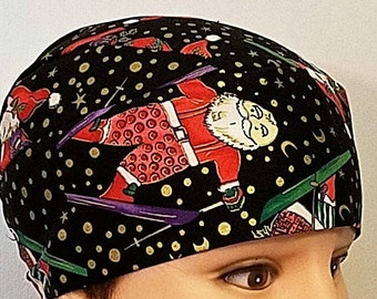 Santa on Skis Skull Cap, Chemo Cap, Motorcycle, Hair Loss, Hats, Head Wrap, Do Rag, Bald, Helmet Liner, Surgical Cap, Handmade, Gold Snow