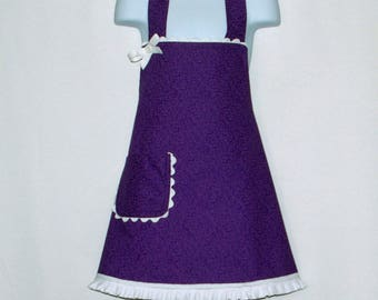 Little Girls Purple Apron, Gift From Grandparent,  For Young Child, Custom Personalize With Name, No Shipping Fee, Ships TODAY AGFT 1211