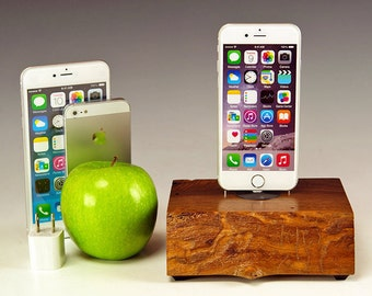 Natural live edge Walnut wood dock for ANY iPhone, Wood Charging station, iPhone 7 stand, 7 plus, Docking station, gift for him, USA, #738