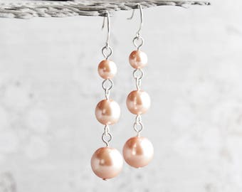Peach Bridesmaid Earrings, Peach Pearl Earrings on Silver Plated Hooks, Pastel Peach Earrings, Bridal Jewelry Set