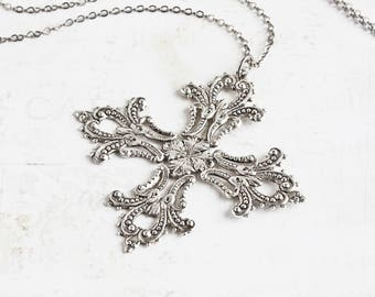 Large Oxidized Silver Plated Filigree Cross Pendant Necklace on Gunmetal Black Chain