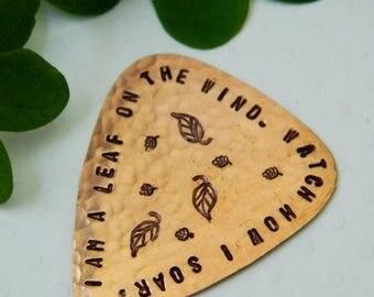 ON SALE I Am A Leaf On The Wind, Copper Guitar Pick, Serenity Firefly, Handmade Plectrum, Hoban Washburne, Browncoat, Fandom, Whedon, Musici