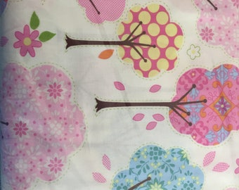 Pretty Little Things Trees Cream Dena Fishbein for Free Spirit Fabrics Cream Pink Green