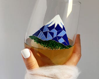 Royal Blue - Snowcapped Mountain - Mosaic Art - Hand Painted Wine Glass - Drinking Dinnerware