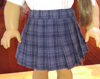 1940s Plaid Pleated Skirt Molly or Emily fits American Girl 18 inch doll