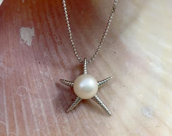 White Freshwater Pearl Starfish Necklace