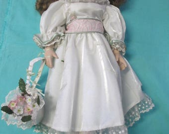 PORCELAIN DOLL VINTAGE - Jumbo Flower Girl with stand 22 inches