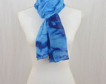Hand Painted Chiffon Silk Scarf, Blues, One of a Kind, Gift for her, Christmas Gift, Abstract Scarf, Accessories, Hippie, Festival Clothing