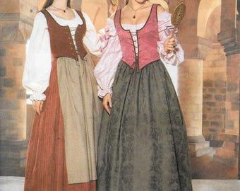 Butterick 6196 or 413 Renaissance Medieval Costume  Making History Pattern  Long Skirt, Ruffled Blouse, Corset Style Vest, Sizes 6, 8, 10