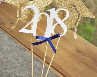2018 Graduation Centerpiece.  Royal Blue Graduation Decorations.  Handmade in 2-5 Business Days.  Graduation Party Decor.