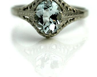 Antique Aquamarine Engagement Ring 1.25ctw Oval Aqua Art Deco Gemstone Ring 14 Kt White Gold Alternative Ring Statement Ring March Birthday!