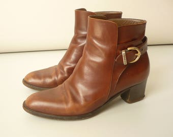 RUSSELL & BROMLEY Vintage 1980's Brown Leather Buckle Ankle Boots Size UK 5.5 Euro 38.5