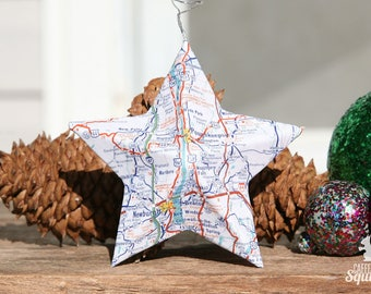 Poughkeepsie, New York - Vintage Map Covered Star Ornament - Home Decor, East Coast, 3 Dimensional, Christmas, Map Ornament