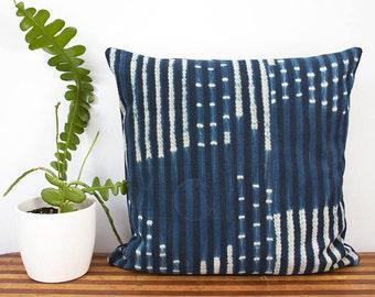"Indigo Pillow Cover - West African Indigo - Burkina Faso - Hand Woven - 18"" x 18"" - Housewarming - Accent Pillow - Down Pillow Optional"