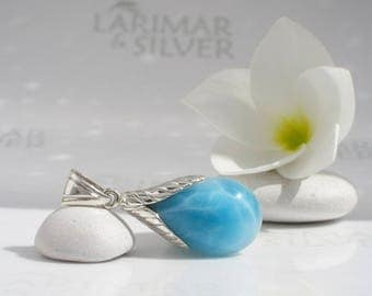 Larimar pendant by Larimarandsilver, Fruit of Wisdom - water blue Larimar pear, turtleback, crystal blue sapphire pendant drop water element