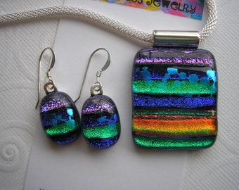 Dichroic Jewelry Set ,Colors of India, Blue, Purple, Green, Orange, Kiln Fused Glass, Matching Pendant and Earrings, .925 Sterling Dangles