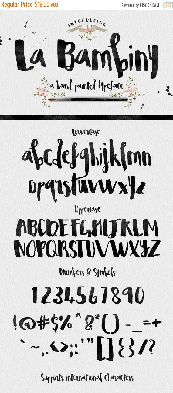 Digital Fonts 80% Off SALE La Bambiny Typeface Fonts - Display Fonts - Hand Painted - plus extra design elements