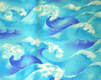 1 YARD, Blue White Ocean Waves Print, Quilting Cotton or Craft Fabric, Clothworks Textiles, By The Sea, Johnny Carwan, B12
