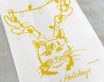 Meowy Holidays Cat Reindeer Tea Towel