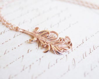 Necklace, Rose Gold Necklace, Feather Necklace, Rose Gold Feather, Boho Necklace, Nature Necklace, Gift for Her, Bridesmaid Necklace, Gift